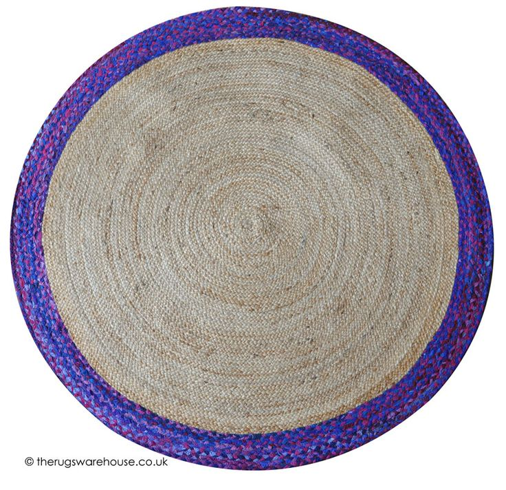 Coino Blue Rug A Round Hemp Recycled Fabric Handmade In Shades Of Purple