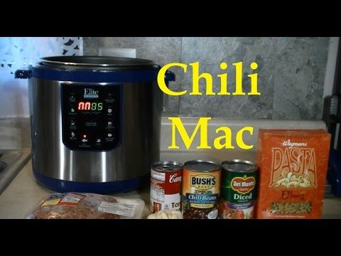 Cooking Chili Macaroni and Cheese in a Pressure Cooker. I used the Elite Platinum 10 quart. I was so easy and very good! http://www.rickmammana.com