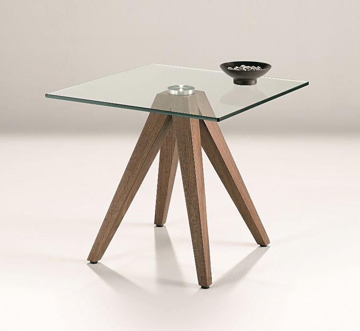 Bresson Lamp Table - tapered legs in walnut veneer with 10mm  tempered clear glass top