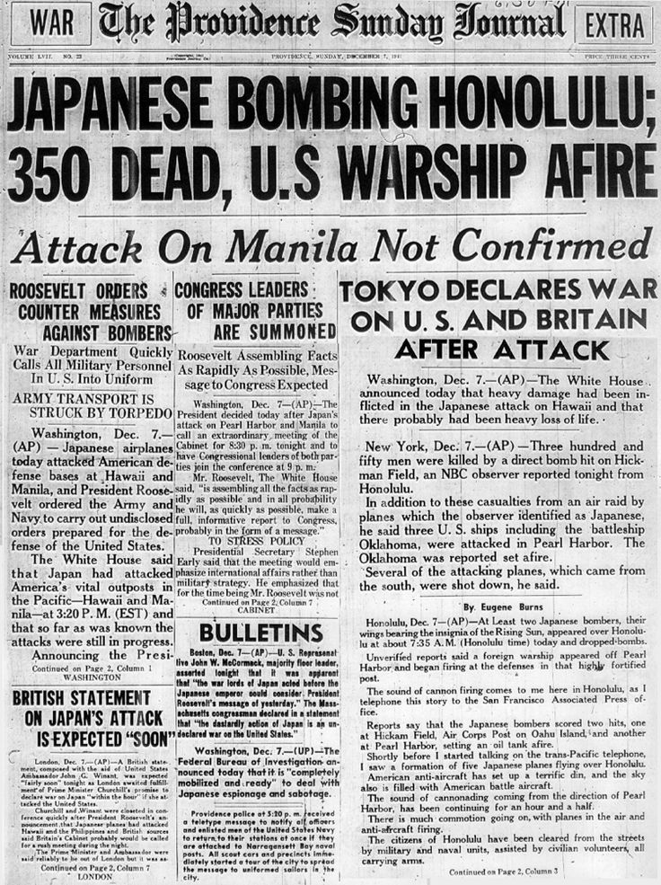 Japan bombed the United States' military base at Pearl Harbor, Hawaii on December 7, 1941. Its planes hit just before 8AM on 7 December. Soon after this happened, Japanese planes eliminated much of the American air force in the Philippines, and a Japanese Army was ashore in Malaya.