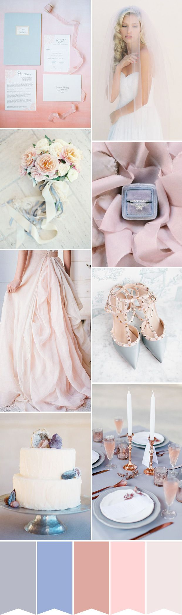 Pantone Color of the Year 2016 - A Rose Quartz and Serenity Wedding Palette | www.onefabday.com