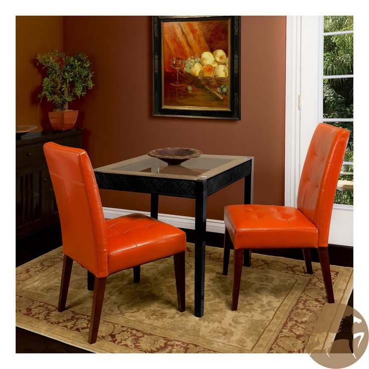 Christopher Knight Home Tufted Burnt Orange Leather Dining Chair (Set Of 2)  | Overstock