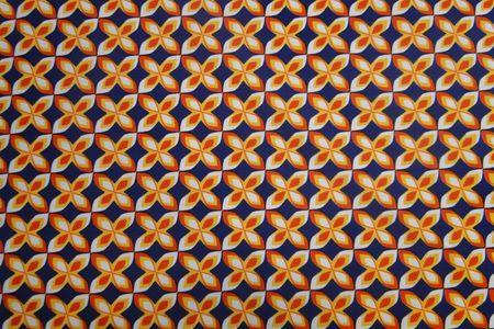Katoen jersey, blauw, wit en oranje, blok, ca 160 cm breed, leuk voor een jurk of shirt, bestel eenvoudig online! - Bas Bastiaans