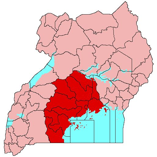 Buganda is shaded red on this map of Uganda