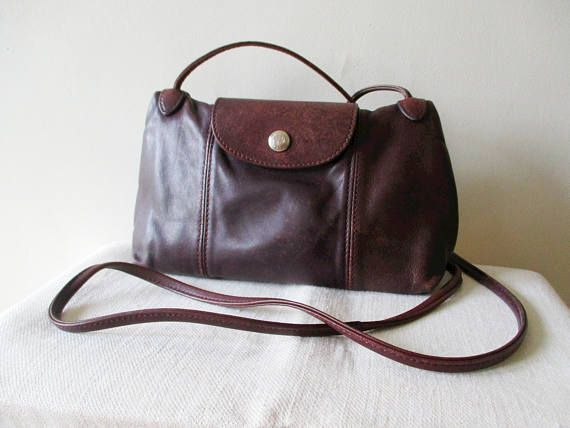Leather little bag LONGCHAMP Pliage cuir Handbag Purse