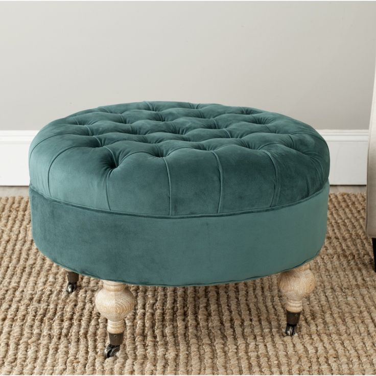 Clara Marine Cotton Fabric Round Ottoman | Overstock.com Shopping $282; 27'' - 13 Best Images About Ottomans And Benches On Pinterest Linen