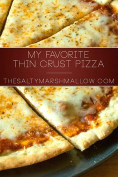 My favorite thin crust pizza dough ever is thin but still perfectly foldable with a tasty and slightly crispy crust! An easy weeknight pizza with minimal ingredients and no waiting for the dough to rise! This favorite recipe of mine makes not one, but two pizza crusts so you can have one now and another easy weeknight meal later. http://thesaltymarshmallow.com/favorite-thin-crust-pizza/
