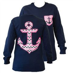 Southern Couture Chevron Anchor Faux Pocket Navy Girlie Bright Long Sl | SimplyCuteTees