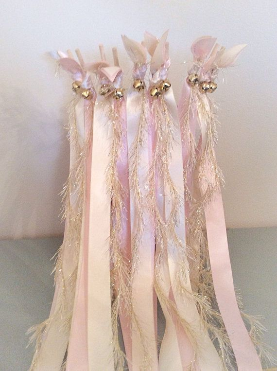 60 Ribbon Wands Light Pink And Ivory With Gold Frayed Wedding Send Off Streamers Bell