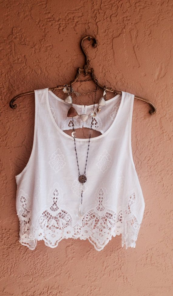 Bohemian vintage cut out crop top with detail open by BohoAngels, $45.00