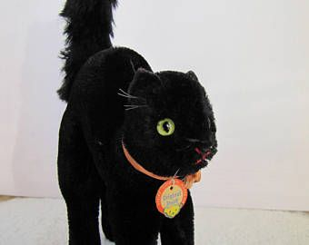 1950s Steiff Black Halloween Tom Cat Mohair Black Scary Cat Vintage Steiff with Original Tag Hard Stuffed Collectible Steiff Made 1950s Toy