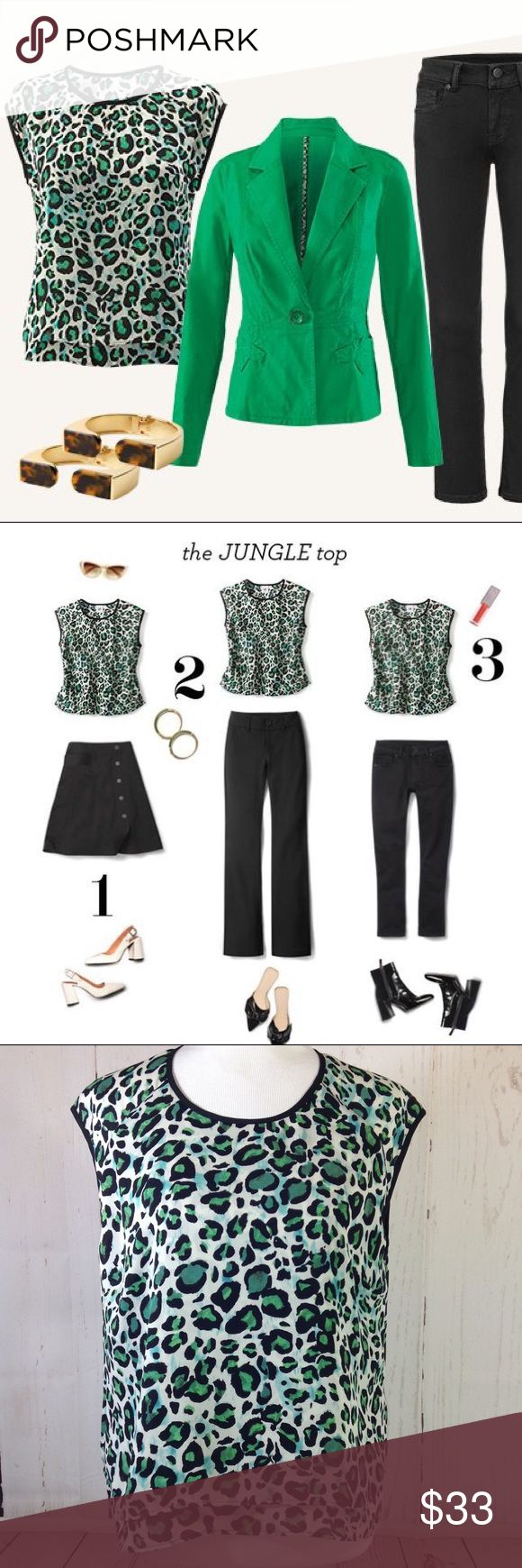 """Cabo Green #3260 Jungle Top Size Medium CAbi #3260 Jungle Top Size Medium Green Black Animal Print Sleeveless Tank Double layered Black piping Shown on a medium size mannequin  Approximate flat measurements:  Chest: 20.5"""" Shoulders: 19"""" Waist: 21"""" Length: 24.5"""" CAbi Tops Blouses"""