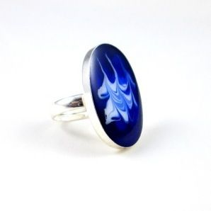 Inel unicat, din argint 925, pictat manual cu email (uscare la rece).  Silver unique hand painted ring. #silver #ring #jewelry #roxoboutique #inel