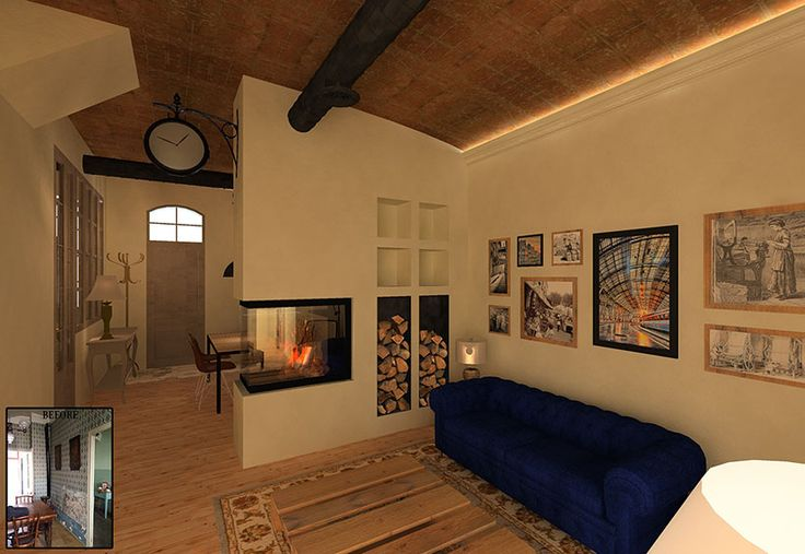 Sustainable Apartment Restoration by The Old Green Corner | Restoration of an old industrial apartment using responsible materials and techniques. Here we see the  living room with a double sided fireplace connecting with the kitchen.