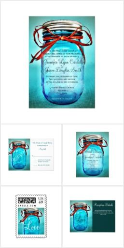 Teal Blue Mason Jar Wedding Invitation Set