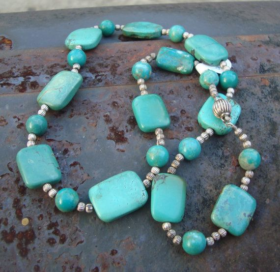 turquoise and sterling silver necklace  Lesson in Geometry originally 110 dollars now 50 inventory sale