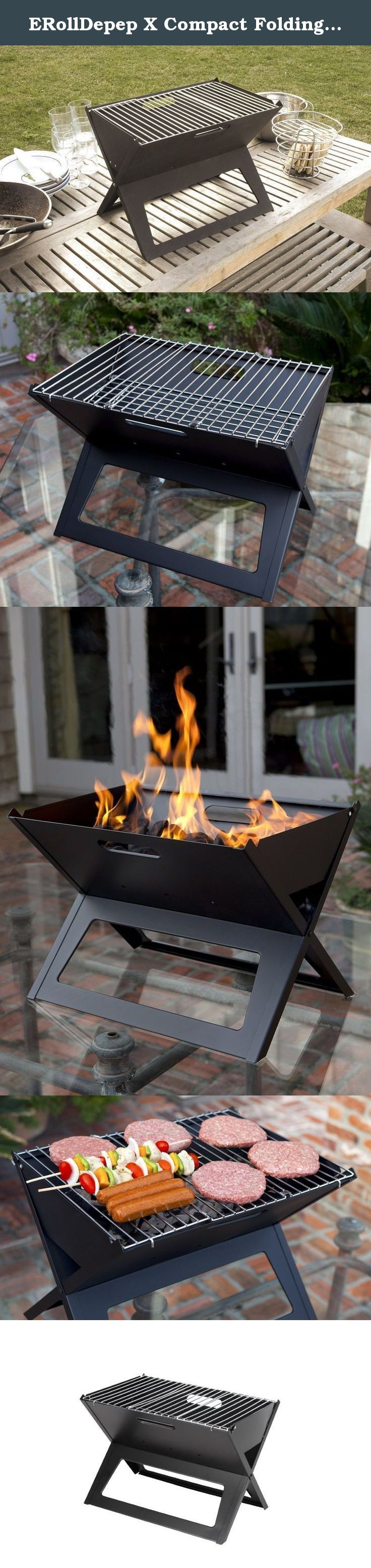ERollDepep X Compact Folding Portable Charcoal Barbecue BBQ Grill Outdoor Notebook Charcoal Grill Original Folding Charcoal BBQ Grill Made from Stainless Steel. We are pleased to offer the finest in British design and quality in the Hot Spot Notebook Charcoal Grill. The Notebook Grill is the perfect portable charcoal grill. The clever design allows this unit to stand 14.18-inch for use and then fold flat to one inch in seconds. Constructed of high heat resistant painted steel, this sturdy...