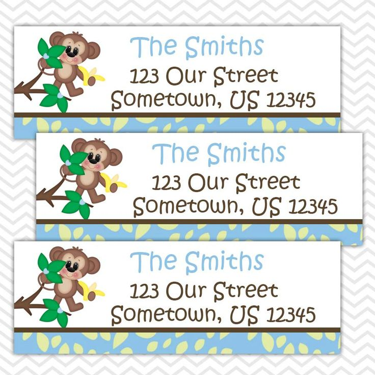 Blue Monkey  - Personalized Address labels, Stickers, Baby Shower by sharenmoments on Etsy