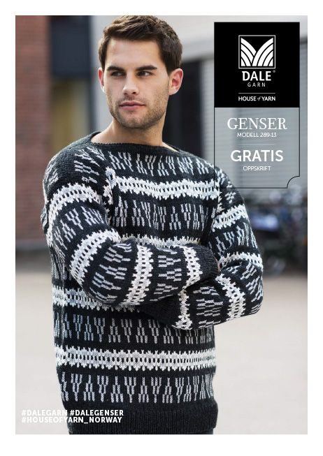 #DaleGarn Free download pattern Genser med mønster nr. 289-13
