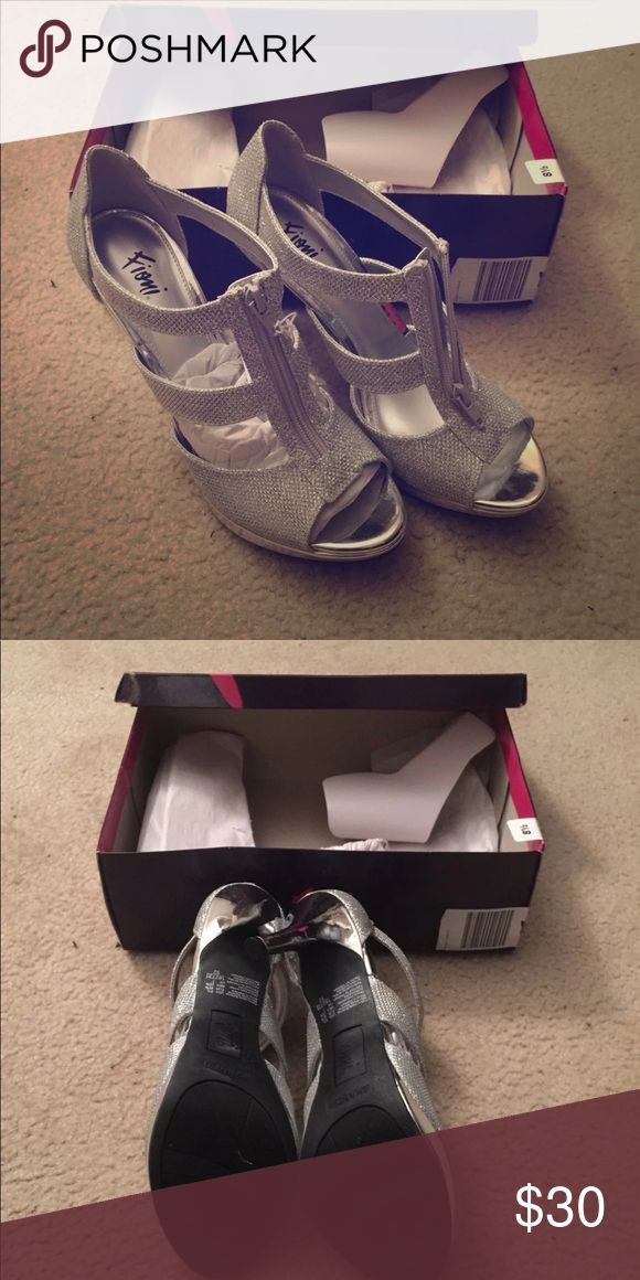 NIB Silver ZIP Up Heels New in box! Super adorable! Zip up front! Shoes Heels