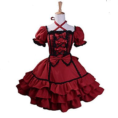 One-Piece/Dress+Trim+Gothic+Lolita+Lolita+Cosplay+Lolita+Dress+Red+Patchwork+Short+Sleeve+Knee-length+Dress+For+Women+Cotton+/+Terylene+–+CAD+$+111.19