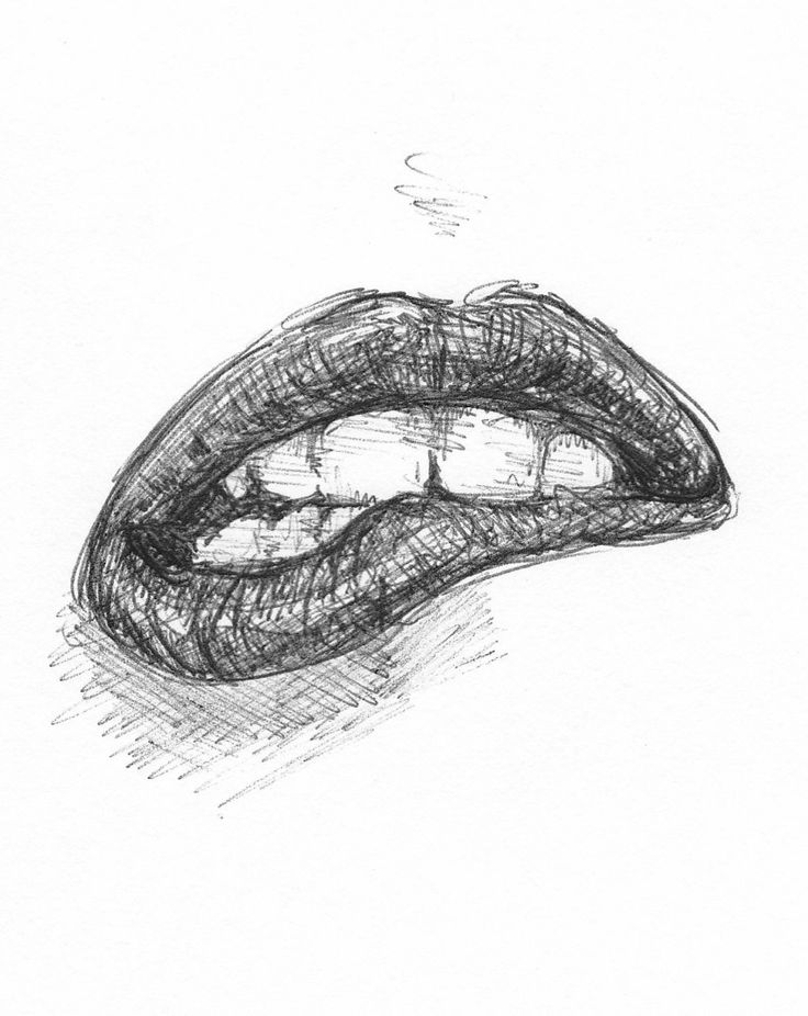 Cool Pics To Draw | Biting Lip Drawing