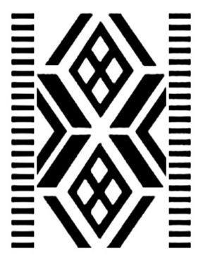 Diseño mapuche. El dibujo interior es del cosmos. Las líneas oblicuas y paralelas del tejido casi siempre centran otro dibujo. Gentileza Fun...