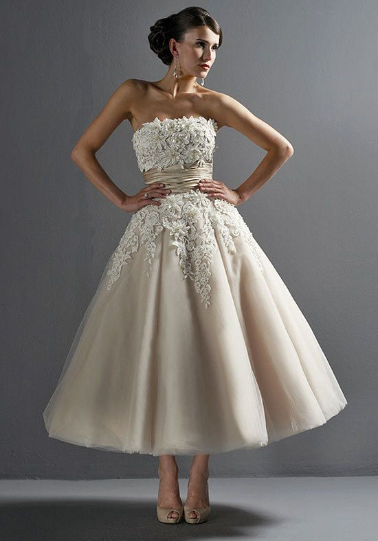 2014 new lace wedding dress/tea length by GorgeousCustomDress, $185.00