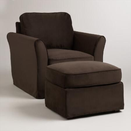 Chocolate Brown Velvet Loose-Fit Luxe Ottoman Slipcover | World Market