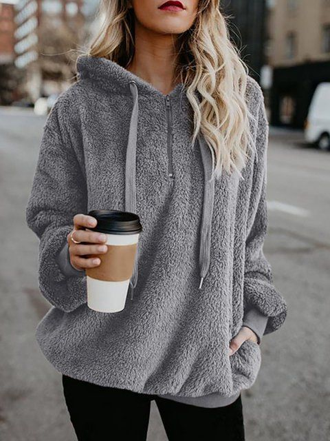 Buy Tops For Women at JustFashionNow. Online Shopping Zipper Long Sleeve Casual ... 3
