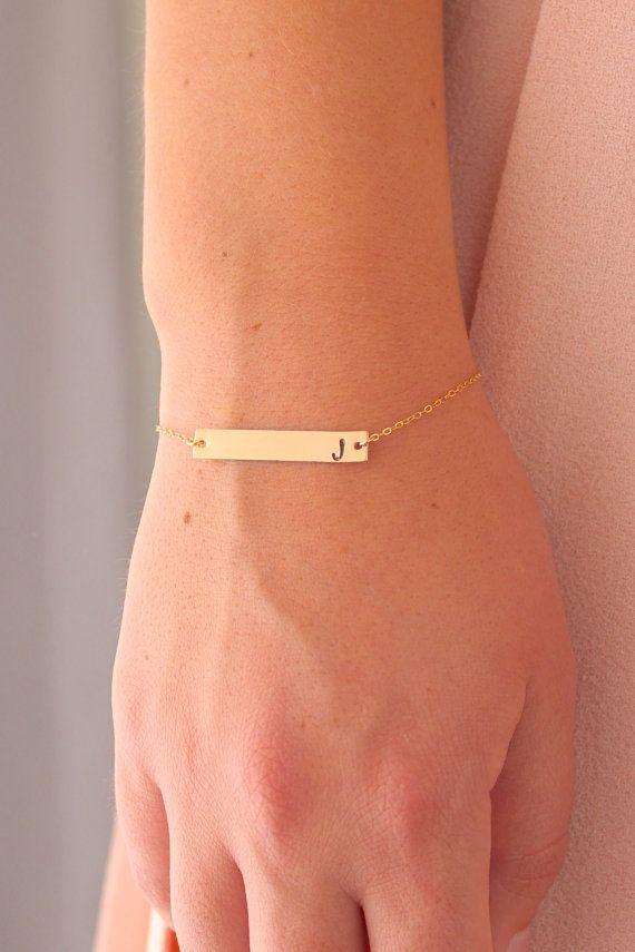 Gold Bar Initial Bracelet Gold Bar Bracelet by powderandjade