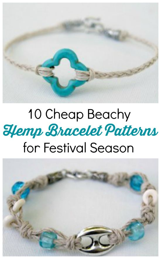 10 Cheap Beachy Hemp Bracelet Patterns for Festival Season | Cheap Eats and Thrifty Crafts