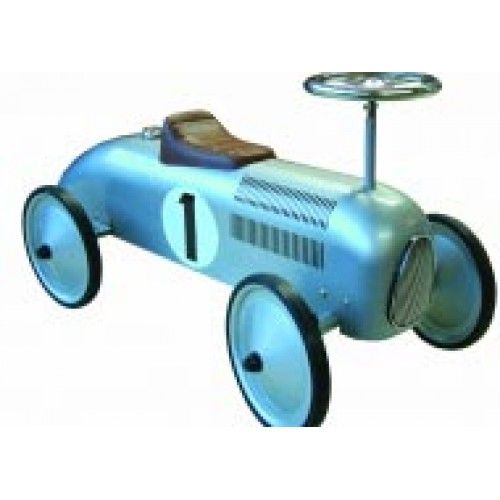 The silver Speedster with its classic, racy design will be an instant hit with all toddlers. The ride on car is modeled after the classic speedsters from the 1930's and is made from strong steel with a turnable steering wheel and rubber tyres. Suitable for ages 1 to 3 years.
