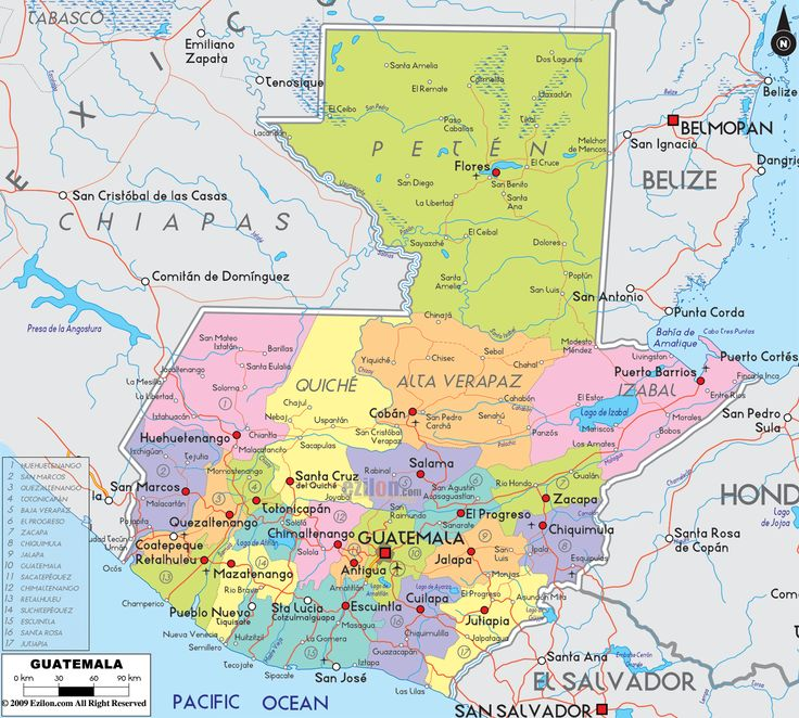 Description: Detailed large political map of Guatemala showing names of capital city, towns, states, provinces and boundaries with neighbouring countries.