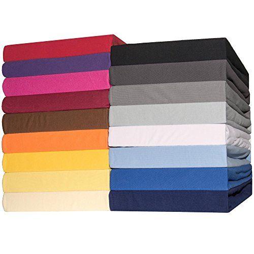 Spannbettlaken Jersey Baumwolle | viele Farben alle Gr��en | Spannbetttuch f�r Doppelbett-Matratzen | 180 x 200 bis 200 x 200 cm CelinaTex 0002810 Lucina dunkel-grau