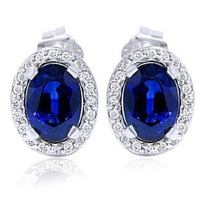 14K White Gold 2.25Ct Blue Sapphire Oval Shape Diamond Halo Studs Earrings by JewelryHub on Opensky
