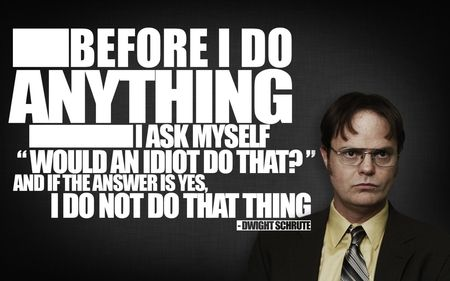 """""""Before I do anything I ask myself 'Would an idiot do that' and if the answer is yes, I do not do that thing."""" -Dwight Schrute. Advice from The Office."""