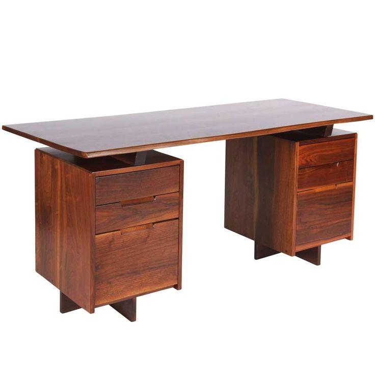 George Nakashima Walnut Double Pedestal Desk, 1977 1