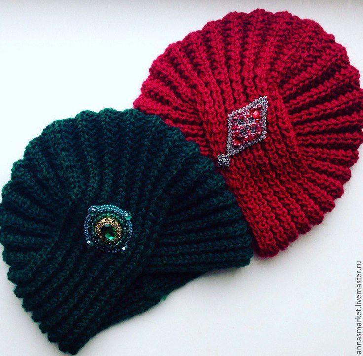 Купить Вязаные чалмы-тюрбаны (6 фото) - комбинированный, тюрбан, чалма, вязаная шапка