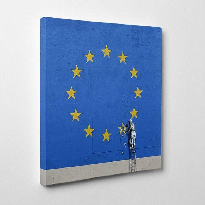 The Banksy Shop - Banksy Canvas Print -Brexit EU Flag , £34.95 (http://www.thebanksyshop.co.uk/banksy-canvas-print-brexit-eu-flag/)