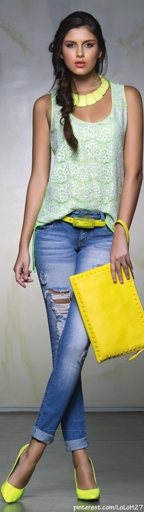 denim with a splash of yellow