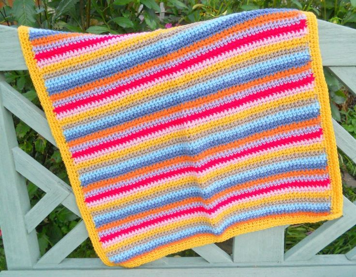 HAND MADE GRANNY STYLE STRIPED CROCHET BABY BLANKET - MULTI COLOURED