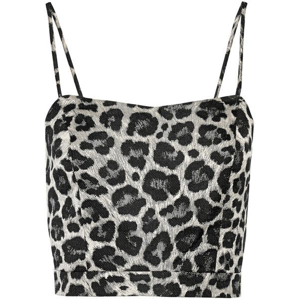 Noir Sachin & Babi Aria cropped leopard-jacquard top ($109) ❤ liked on Polyvore featuring tops, crop tops, lyhythihat, shirts, animal print, leopard print crop top, zipper shirt, crop top, leopard shirt and zipper top