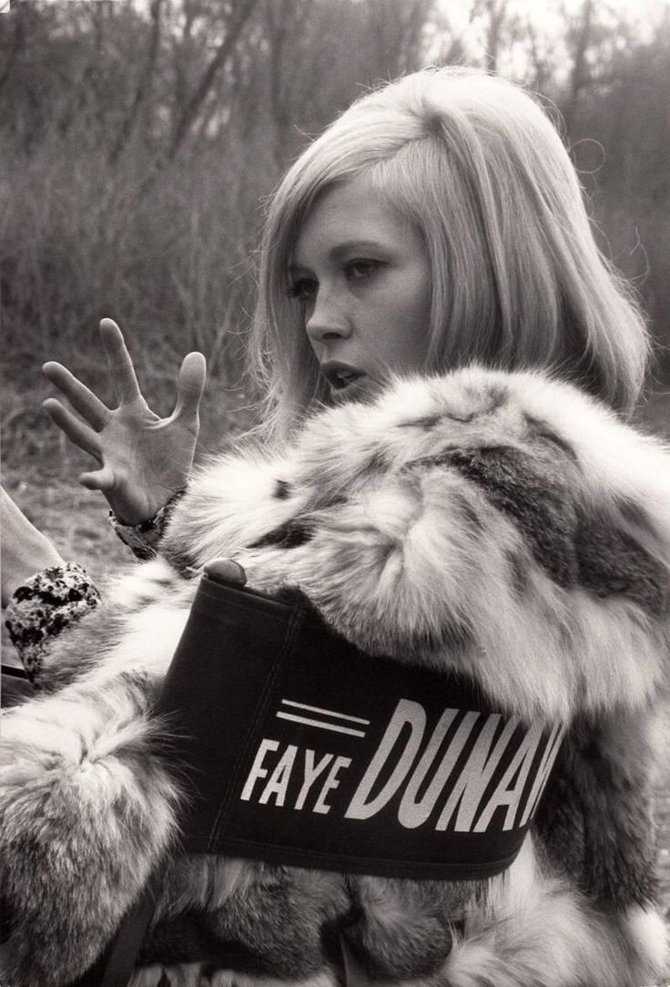 Faye Dunaway on Set, c. 1967 | From a unique collection of black and white photography at https://www.1stdibs.com/art/photography/black-white-photography/