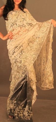 Grey pure silk mekhela chadar designer