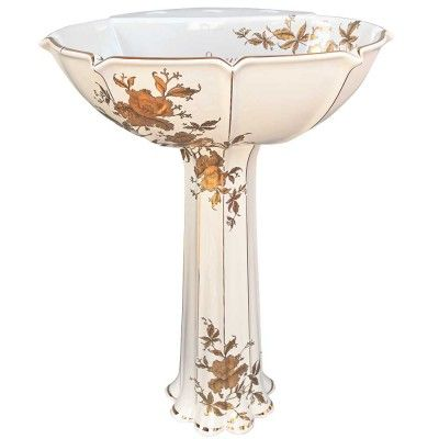 Hand Painted Pedestal Sink With Custom Version Of The Gold Orchids Design  On An Almond Kohler