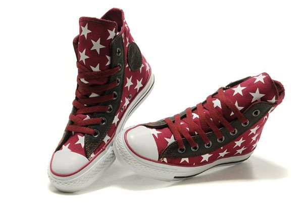 Converse All Star Embroidered Star Red High Top Canvas Shoes