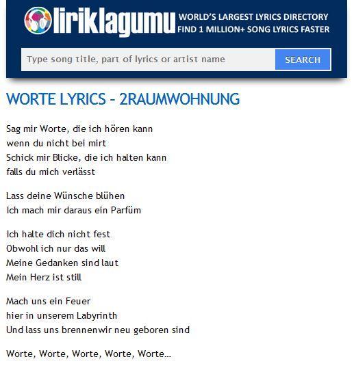 WORTE Lyrics - 2RAUMWOHNUNG http://www.liriklagumu.com/4591312/worte-lyrics-2raumwohnung/