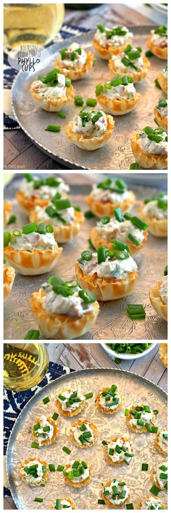 These Boursin & Prosciutto Phyllo Cups are the perfect bitesize appetizer! Perfect for wine night, the tailgate, or family holidays. YUM! #tailgate #appetizer #gameday | http://www.thecookierookie.com/boursin-prosciutto-phyllo-cups/ |