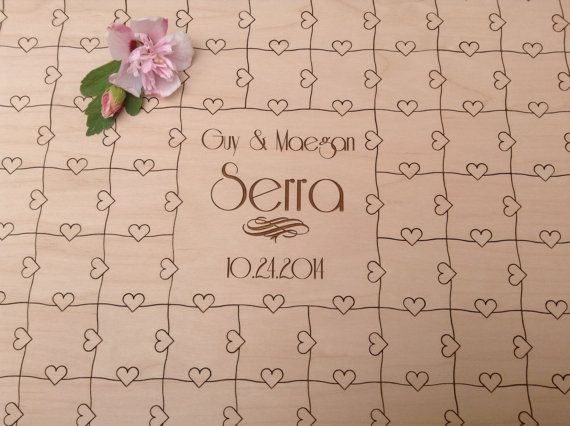 75 pieces Custom Puzzle Wedding Guest Book by NorthernOwlCreations